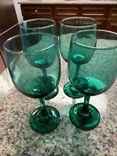 Set of 4 Libby Green Glass Stemmed Wine Glasses Drinking Glasses