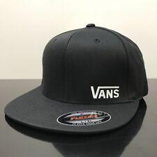 VANS SPLITZ BLACK FLEXFIT CAP HAT (S/M)
