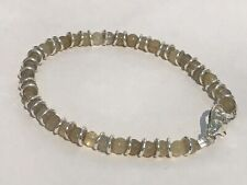 """Natural Grey Agate 6.75"""" Threaded Bracelet with Silver Plated Lobster Clasp"""