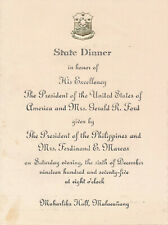Ferdinand & Imelda Marcos - Memorabilia from their State Dinner for Pres. Ford