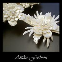 Ivory Cream FAUX LEATHER Embroidered Bead FLORAL TRIM Decorative Bridal Costume