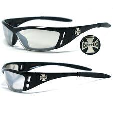 Choppers Bikers Mens Sunglasses - Black / Clear Mirror Lens C46