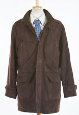 BROOKS BROTHERS Coat L Bark Brown Suede Leather Insulated Overcoat Wool/Bemberg