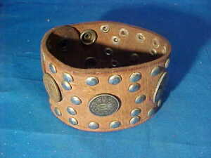 "1970s LEATHER Hand Crafted 2"" Wide BIKER BRACELET w STUD Decoration"