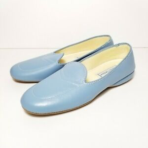 Vintage Daniel Green Split Leather shoes blue size 6 M NWOT loafers slippers