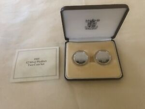 UK GB 1989 ROYAL MINT TWO COIN SILVER PIEDFORT SET w BOX/COA bill & claim rights