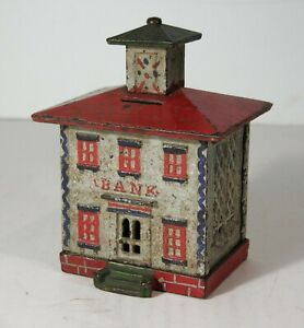 1870s LARGE CAST IRON BANK BUILDING WITH CUPOLA FIGURAL STILL BANK w/ MICA PAINT