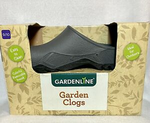 GARDENLINE gray garden clogs removable insock, 9 10 9/10 with box