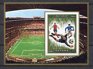 S4967) Manama 1970 MNH Wc Football - Cup Del Mondo Football S/S Ovptd Imperf