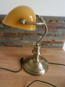 Lampe de bureau notaire banquier abat-jour en opaline