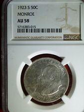 1923-S U.S. MONROE commemorative half - AU-58 (NGC)   stk#3015