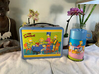 Vintage The Simpsons Lunch Box + Thermos 2003 Yellow Blue RARE Very Good Shape