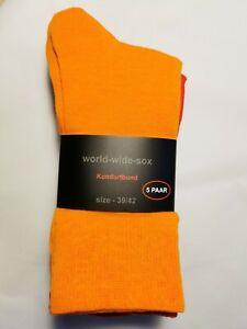 5 Paar Socken gelb rot grün orange blau  Komfortbund 39-42 Damen colors farbig
