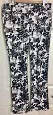DAZZ Sz L White Black Rose Print Stretch Ponte Skinny Leg Pants
