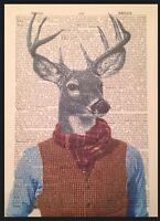 Stag Print Vintage Dictionary Page Wall Art Picture Tweed Animal In Clothes Deer