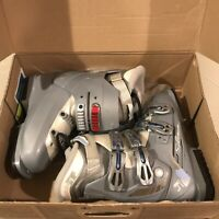 Womens Salomon Irony 4 Thermicfit Ski Boots Size 24 Gray White Blue & Red w/ Box