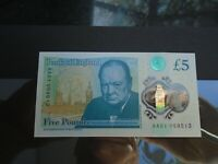 Polymer Five Pound CHOICE EF Note AA01 059513 LOW NUMBER FIRST RUN