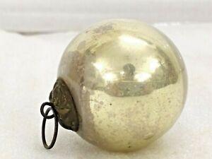 VINTAGE OLD UNIQUE SILVER COLOR  KUGEL SHAPE CHRISTMAS GLASS BALL.OLD GERMAN