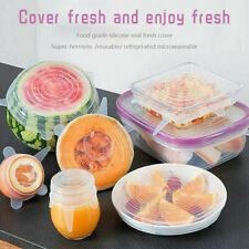 NEW 12PCS Food Silicone Stretchable Stretch Reusable Lid Storage Kitchen Storage