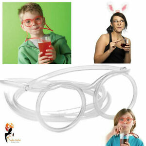 Transparent Wearable Drink Straw Glasses Novelty Flexible Kids Party Tableware