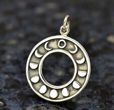 925 Sterling Silver Crescent Moon Phase Lunar Eclipse Charm Pendant for Necklace