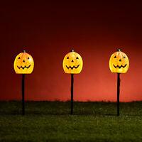 Set of 3 Pumpkin Halloween LED Outdoor Garden Pathway Stake Lights