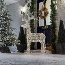 LED Christmas Reindeer Snow Decoration Acrylic Plug In Outdoor Garden Light Up