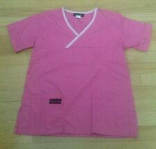 Women S small dark solid pink cotton blend scrub top light pink trim by Melrose