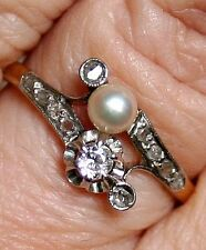 ANTIQUE VICTORIAN FRENCH 18k GOLD PLATINUM DIAMOND PEARL ENGAGEMENT RING 1900