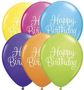 "10 pc 11"" Happy Birthday Script Latex Balloon Party Event Words Boy Girl Luau"