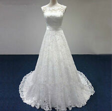 Elegant white/ivory Lace Bridesmaid Bridal Gown Wedding Dresses Custom size