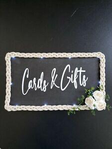 """Wedding Decor Cards & Gifts Sign Black Rope Rose Trim LED Lights 13"""" x 7.75"""""""