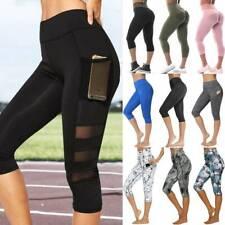 Damen  3/4 Capri Leggings kurz Leggins Capri-Hose Sport Yoga Fitness Jogginghose