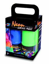 4 x 120ml Neon Acrylic Paint 4 Neon Colors Non-Toxic Safe Great for Kids Art