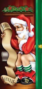 CHRISTMAS SANTA TOILET RESTROOM DOOR COVER POSTER PARTY HANGING DECORATION PROP