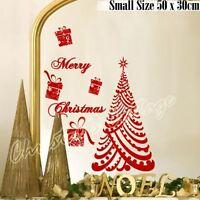 Luxury Merry Christmas Tree Gift Present Shop Window Wall Art Decoration Sticker