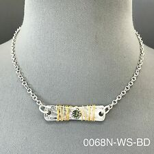 Silver Chain Hammered Bar Clear Green Bohemian Style Gold Wired Design Necklace