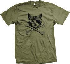 Kitten Pirate Cat With Eye Patch Crossbones Kitty Furball Meme Mens T-shirt