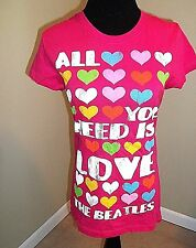 """Beatles Pink 100% Cotton """"All You Need Is Love"""" T-Shirt Size Small 3-5 Jrs EUC"""
