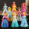 8pcs/set Disney Princess Action Figures Changed Dress Doll Kids Xmas Gift