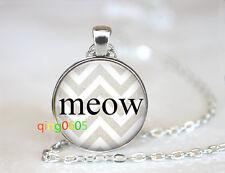 Cat Meow glass dome Tibet silver Chain Pendant Necklace wholesale