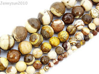 Natural Brown Zebra Gemstone Faceted Round Beads 15'' 4mm 6mm 8mm 10mm 12mm 14mm