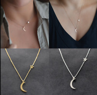Women's Moon Star Pendant Choker Necklace Clavicle Chain Jewelry Simple Style