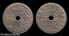 Francisco Franco 25 Céntimos 1937 ( Primera moneda del Estado Español )