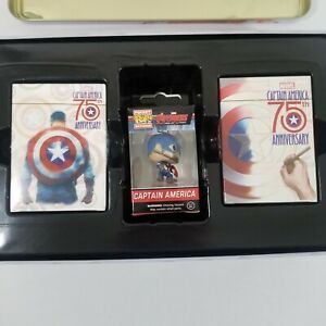 Captain America 75th Anniversary Collectors Playing Card Set w Pocket Pop, NEW