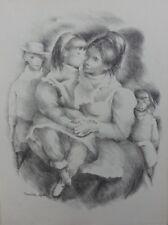 Mariette LYDIS : Mère et sa fille - GRAVURE - Signée - 1947