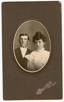 Antique Matted Photo - Young Man & Lady, Mason City, Iowa - CORA & WILL