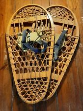 Excellent Vintage Snowshoes 28�Long x 13� Wide Torpedo + Leather And Wood Canada