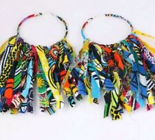 Multi Color African Fabric Handmade Tassel earring Ethnic Afrocentric Urban