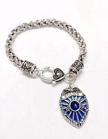 Police Charm Bracelet Blue Badge Shield Gift Officer Wife Girlfriend Mom Jewelry